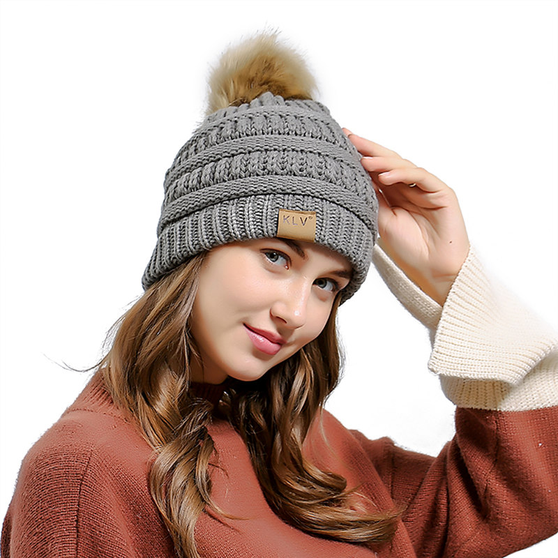 9214099d7 US $3.46 22% OFF|New Women Winter Hat Fashion Beanies Skullies Pompoms Hats  Thick Knitted Winter Beanies For Female Women\'s Gift Hat-in Women's ...