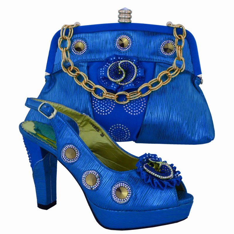 ФОТО Italian Shoes With Matching Bags Rhinestones Pumps Shoes Blue High Quality African Shoes And Bags Set For Wedding CP63006