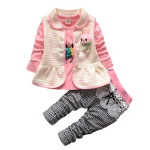 BibiCola Baby Girl Clothes Bebe Solid Clothing Suits Newborn Cotton Long Sleeve Cardigan+Pants 3pcs Girl Clothing Set Outfits