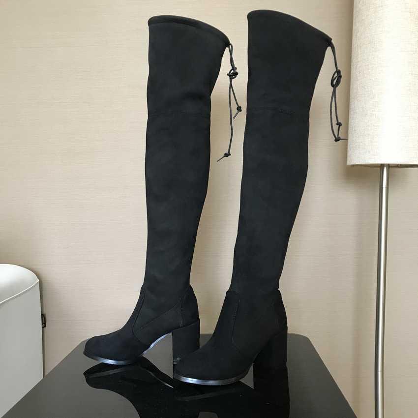 7.5CM עקבים גבוהים חורף מגפי נשים ירך גבוהה מגפי שלג אישה פו פרווה גבוהה העקב נעלי נשים מעל הברך אתחול גברת נעל