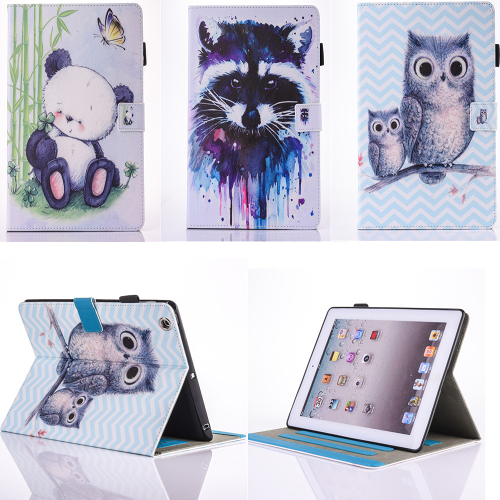 For Apple Ipad 2 3 4 Cases PU Leather Flip Stand TPU Wallet Card Slots Case For iPad2 iPad3 iPad4 Shockproof Cut OWI Panda Cover