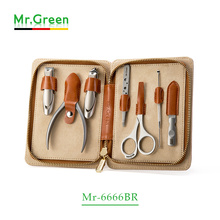 MR.GREEN pedicure set nail clippers stainless steel professional nail clipper with leather case manicure set nail clipper set stainless steel nail clipper silver