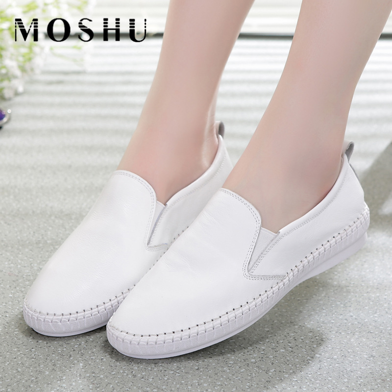 Fashion Leather Flats Women Casual Shoes Summer Comfortable Round Toe Loafers Slip On White Zapatos Mujer Size 34-43 hot high quality men loafers leather round toe slip on casual shoes man flats driving shoes hombre zapatos comfortable moccasins