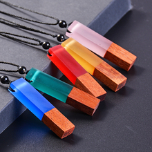HIYONG Fashion  Wood Resin Necklace Pendant,Vintage 100% Handmade woven rope Wooden Necklaces For Women Man Jewelry Gifts