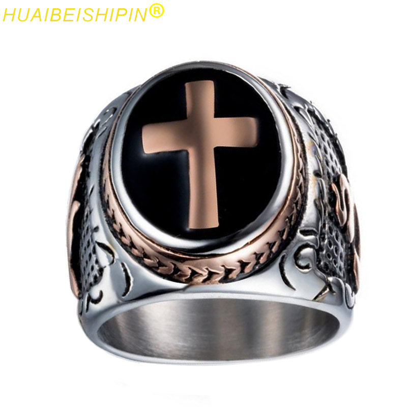 HUAIBEISHIPIN Vintage Silver Gold Black Two-Tone Holy Cross Signet Ring Men Prayer Chris ...