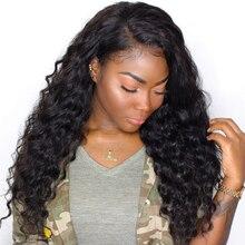 Синтетические волосы на кружеве Человеческие волосы Парики для черный Для женщин 250 плотность Синтетические волосы на кружеве парик свободная волна бразильский парик предварительно сорвал Волосы Remy Cara