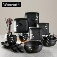 WOURMTH Home набор столовых приборов 27 шт. фарфоровая посуда Простота Черный Japana стиль с цветочным принтом набор пластин подарочная коробка