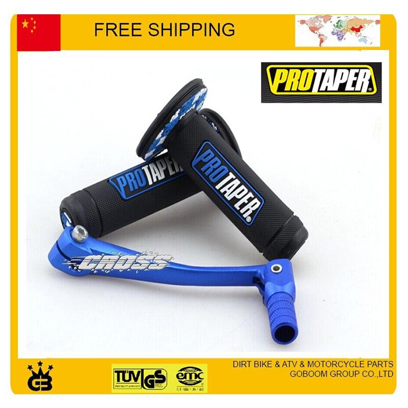 MX Dirtbike Cross Pro Taper Handle Grip Grips + niebieski stop dźwignia zmiany biegów dźwignia dirt bike akcesoria motocyklowe darmowa wysyłka