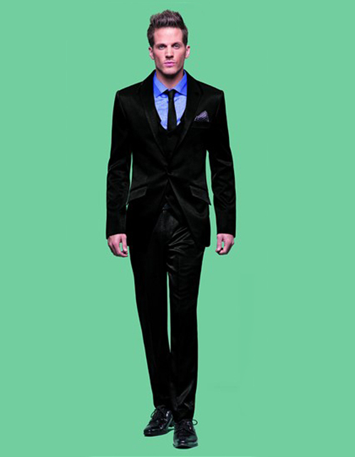 New Design Black Wedding Suit For Man Clothes Groom Tuxedos ...