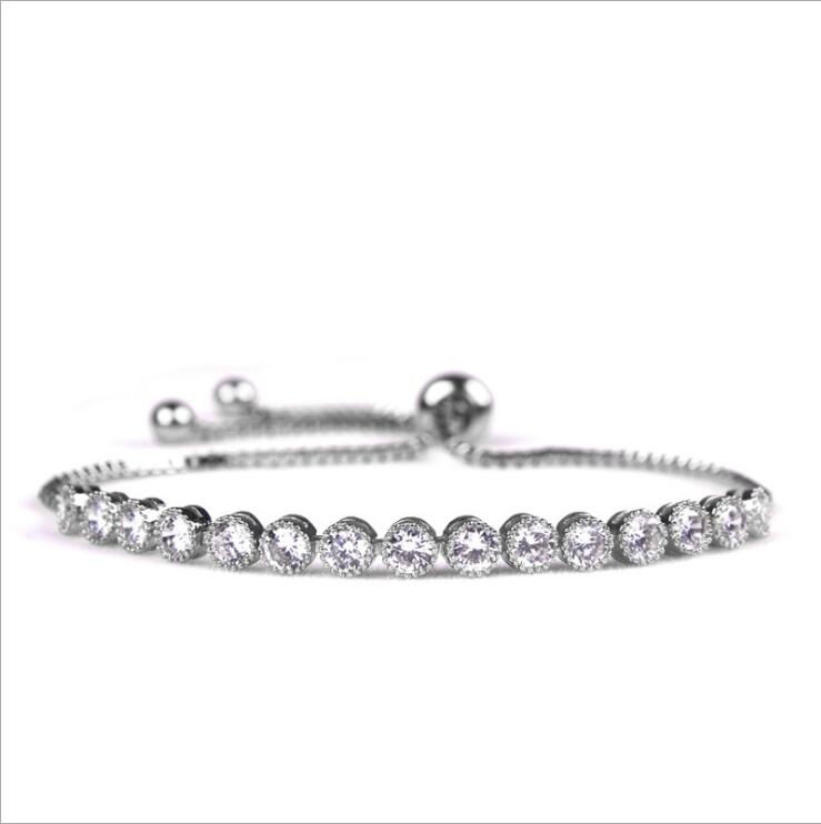 Hot Sale New 925 Sterling silver AAA Cubic Zircon Luxury Charm Bracelet Classic Design Women Jewelry Accessory Free shipping