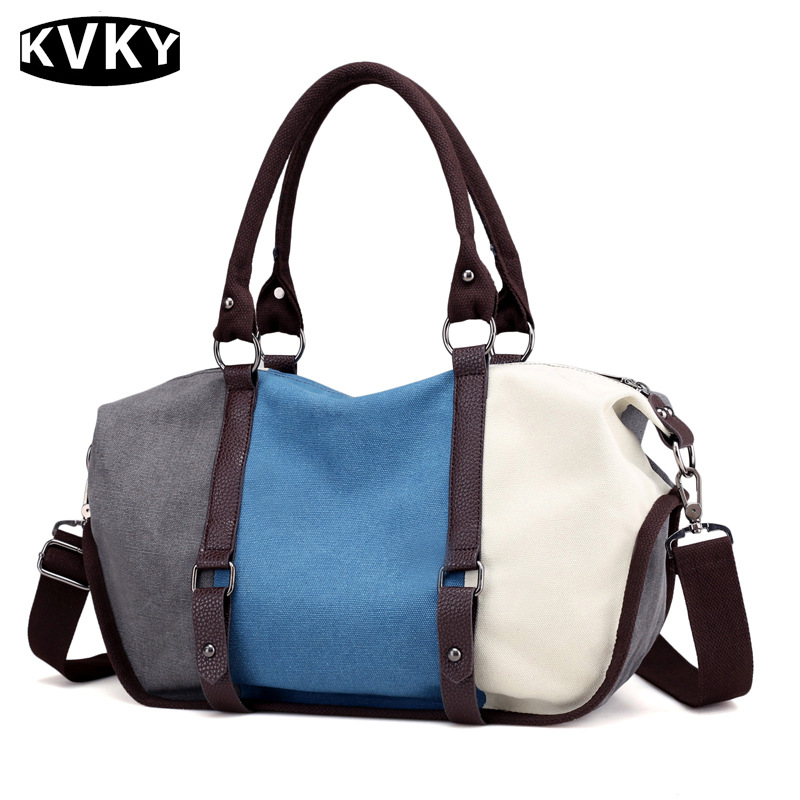 Brand Patchwork Canvas Tote Handbag Women's Fashion Hobos Crossbody Messenger Bag Large Capacity Travel Shoulder Bag