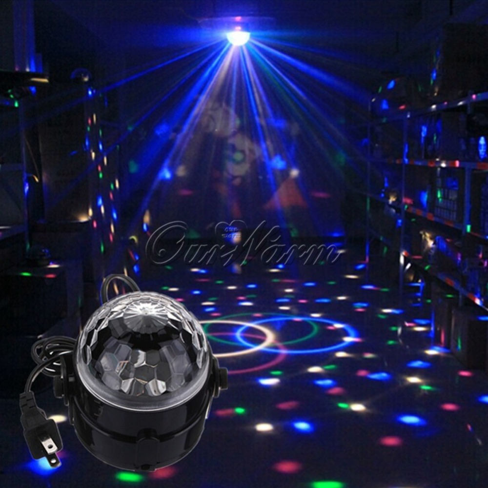 Crystal Magic Rotating Ball 3W RGB LED Stage Lights Party DJ Club Lamp US 180 degree