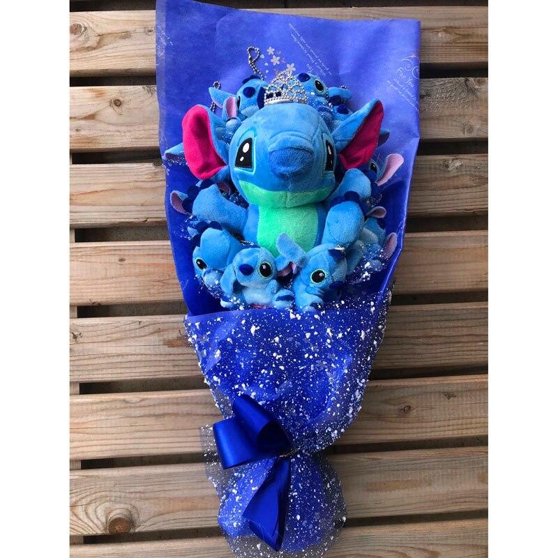 Fleurs artificielles bouquet stich avec couronne point bouquet de peluche jouet bouquets point kawaii valentine jouets en peluche