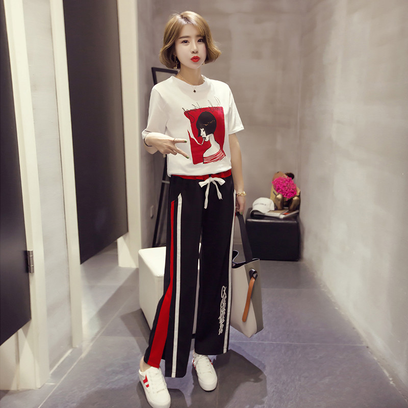 Women Sets Spring Summer New T-shirts Open Fork Horn Trousers Fashion Two-piece Leisure Suits Tracksuit Women
