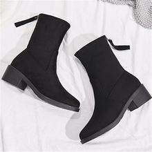 JIANBUDAN/ Womens casual autumn High heel Boots quality Suede bare boots Size plus 35-43 cotton Added Winter