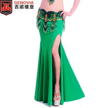 2018 Women Sexy Skirt Belly Dance Costume Professional Performance Split Skirt  Bellydance Clothes 11 Colors