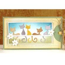 Металлические трафареты с изображением милых кошек для рукоделия