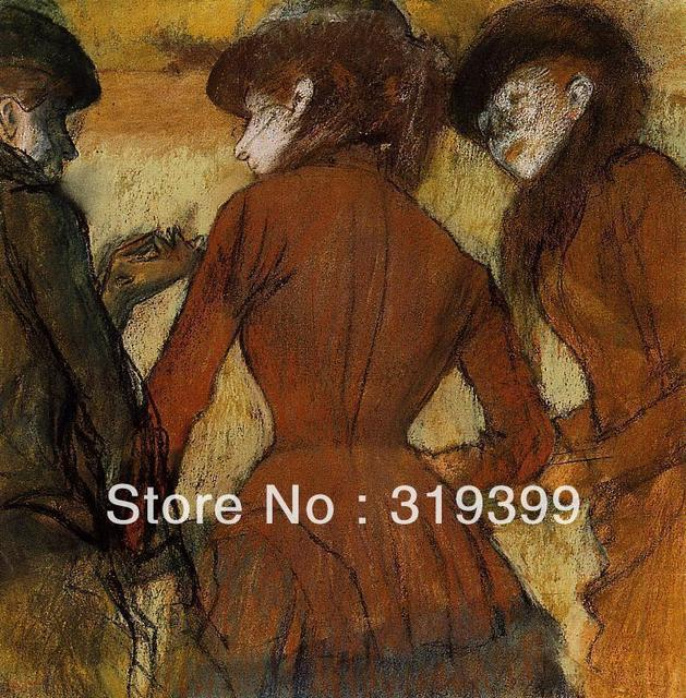 f35c059d21344 US $73.31 15% OFF 100% handmade Oil Painting Reproduction on Linen  Canvas,Three Women at the Races by edgar degas,Free DHL Shipping,oil  paintings-in ...