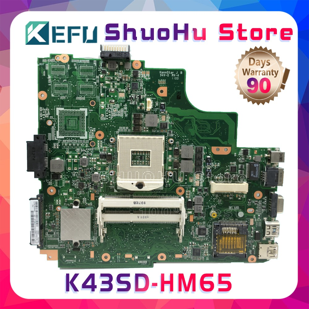 SHELI K43S For ASUS K43SD K43E A43S REV:2.2 laptop motherboard tested 100% work original mainboard for asus k43sd laptop motherboard processor i3 8 memory 2g mainboard 100