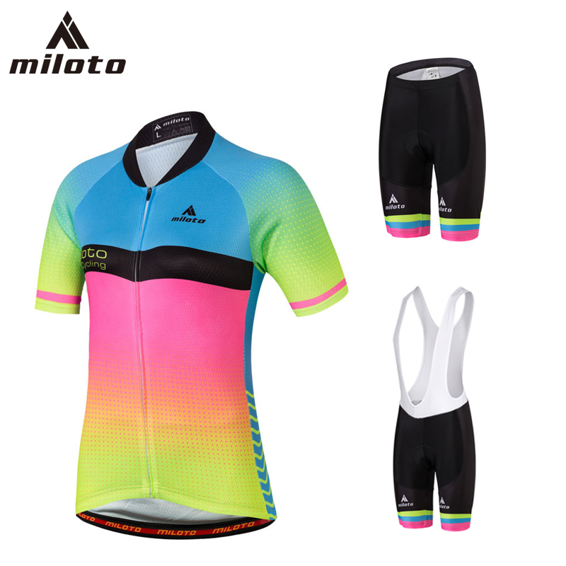 MILOTO Cycling Jersey Sets Women Summer Bike Clothes Bicycle Clothing Maillot Ropa Ciclismo Female Fluorescent ink Cycling Set veobike 2018 pro team summer big cycling set mtb bike clothing racing bicycle clothes maillot ropa ciclismo cycling jersey sets