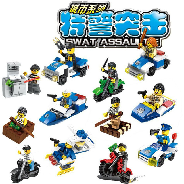 SWAT assault mini car boat motorcycle Vehicle building block policeman thief robber bricks compatible with legoe city toy