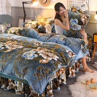Fleece 3 4 Pcs Bedding Set Extra Super Thick Flannel Duvet Cover Pillowcase Bed Skirt Soft Fast Warm Bed Linen Crystal Velvet
