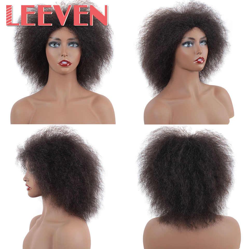 Leeven 6.5 Polegada 100 g/pçs cabelo sintético curto preto kinky encaracolado afro peruca macio cosplay perucas para as mulheres fibra de alta temperatura