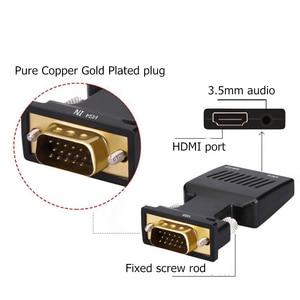 Image 4 - Adaptador VGA macho a HDMI hembra con salida de Audio de 3,5mm Cable HDTV de 1080P convertidor AV para PC Notebook proyector Monitor
