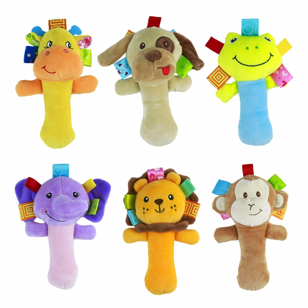 0M + Soft Animal Baby Toy Ring Bell Baby Plush Sonajero Squeaker Rod Cute Cartoon Animal Musical Dog Frog Monkey Lion Plush Toy