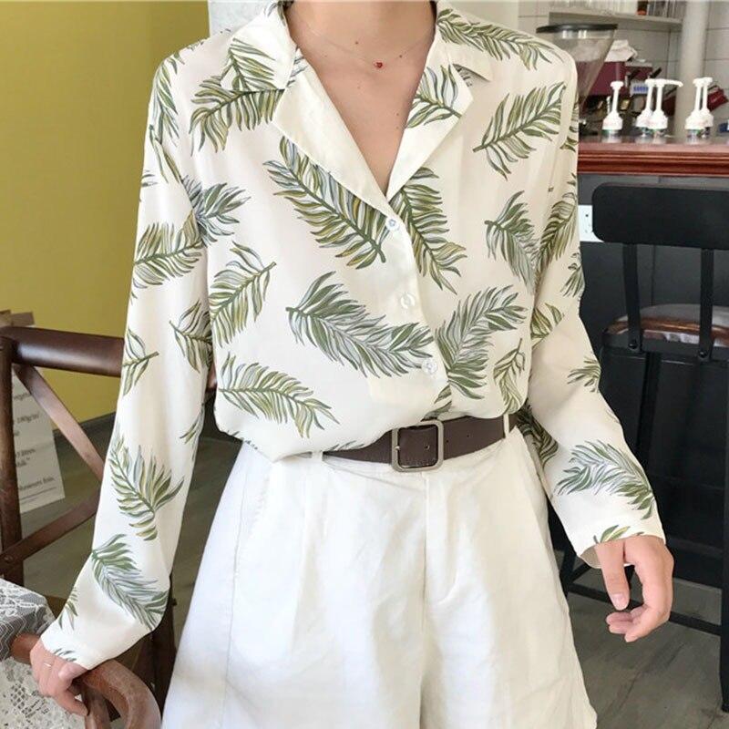5f870423465 Для женщин Винтаж Топы корректирующие цветочный принт рубашки для мальчиков элегантный  одежда с длинным рукавом летняя блузка Blusas Femininas