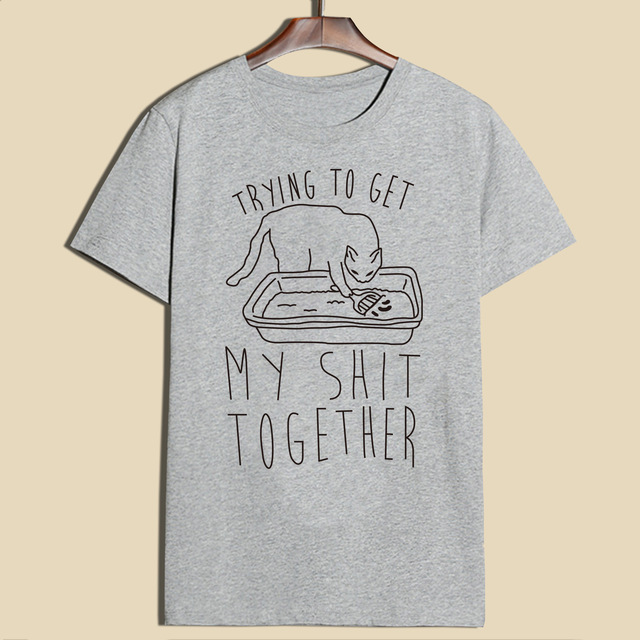 Women's Cat Themed Casual Style T-shirt