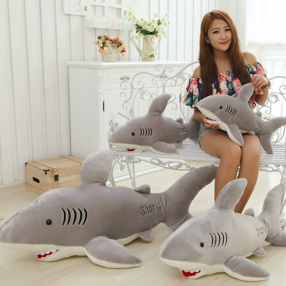 1pc 65cm/75cm Shark Doll Stuffed Dolls Soft Plush Stuffed Marine Animal Gray Shark Plush Toys For Boys Christmas Gift free shipping 70cm sofia the first princess sofia doll plush toys 70cm stuffed soft toys dolls for christmas gift