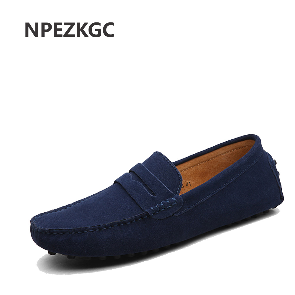NPEZKGC Brand Fashion Summer Style Soft Moccasins Men Loafers High Quality Genuine Leather Shoes Men Flats Gommino Driving Shoes