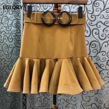 Top Quality Designer Skirt 2019 Summer Sexy Party Club Skirt Women Belt Patchwork Ruffle Skirt Ladies Vintage Mermaid Skirts