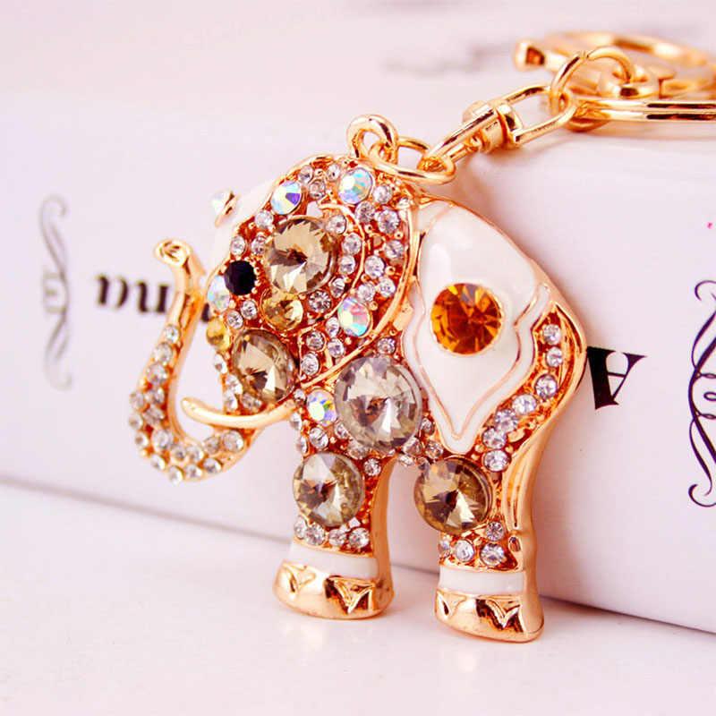 Bonito Elefante de Cristal Mulheres cadeia Saco Bolsa De Jóias de Moda Do Anel Chave Do Carro chaveiro Chaveiros Animal Pingente de Metal do Sexo Feminino presentes D35