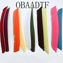 100pcs OBAADTF Fletching Arrow Feathers Multicolor Full Length Real Turkey Feather For Archery Hunting And Firing