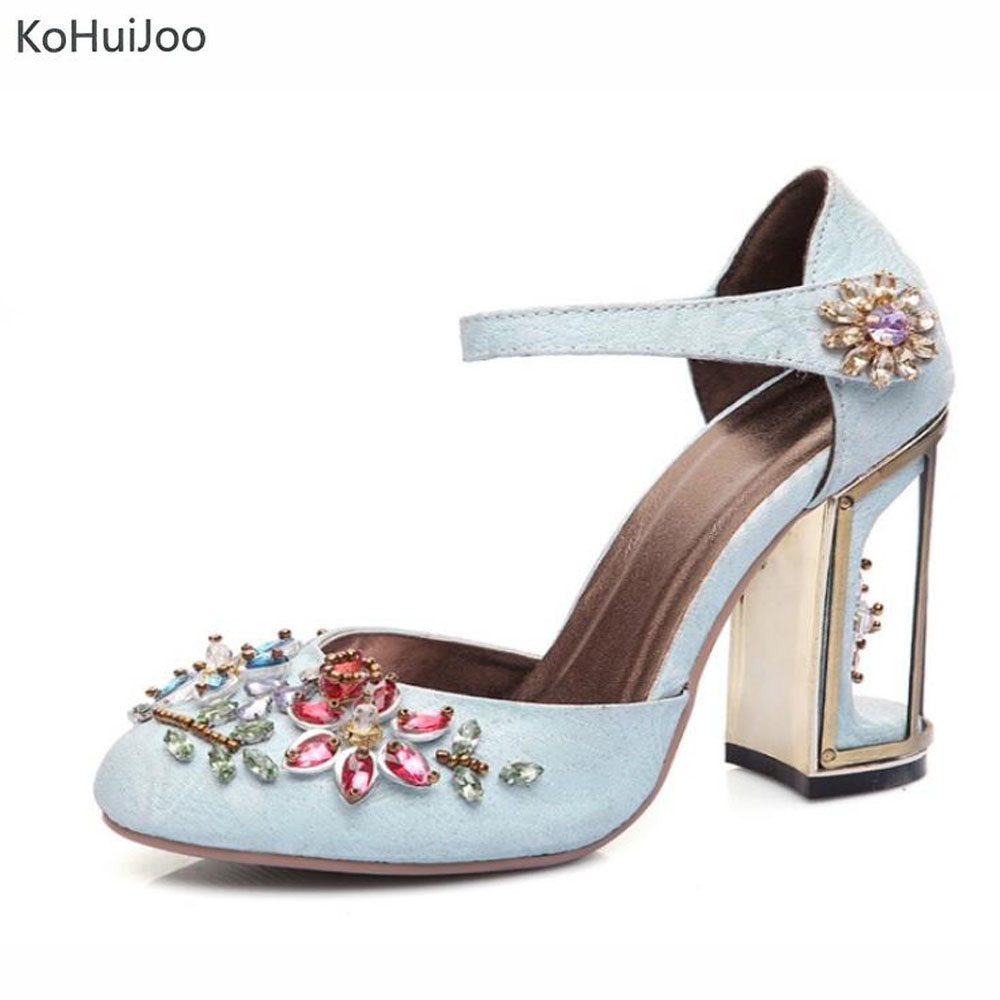 KoHuiJoo 2018 Spring Autmn Women Pumps Fashion Rhinestone Crystal Shoes High Heels Thick Heel Shoes Black Red Party Pumps Lady siketu 2017 free shipping spring and autumn women shoes fashion sex high heels shoes red wedding shoes pumps g107