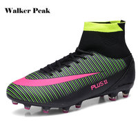 New Men Football Boots High Ankle Soccer Shoes Adult Indoor Sock Cleats Turf Training Sports Shoes