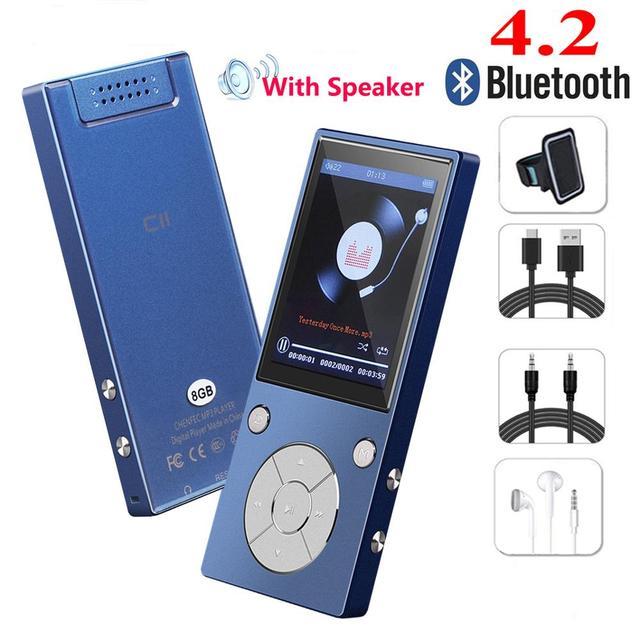 חדש Bluetooth4.2 MP3 נגן 16 GB רמקול עם 2.4 אינץ מסך & FM רדיו ספר אלקטרוני ספורט רמקול מיקרופון מוסיקה נגן SD עד 128 GB