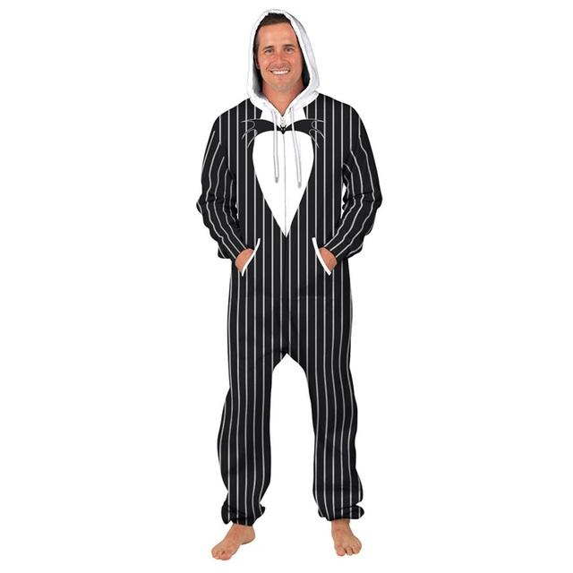 Tuxedo Print Loose Hooded Onesie Men – 21JS