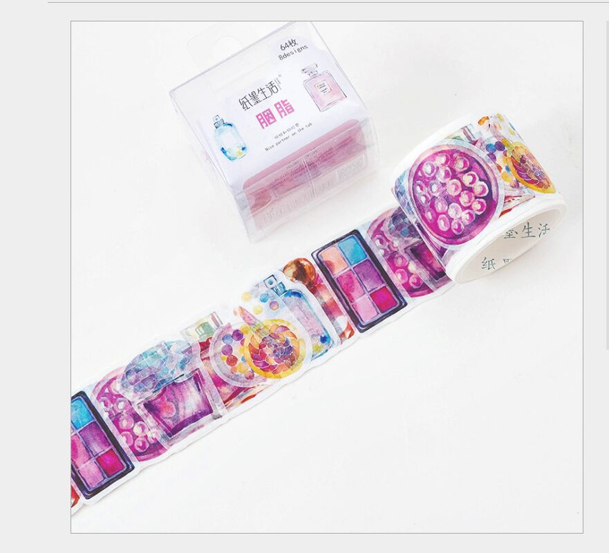 64Pcs/Roll Rouge Cosmetics Perfume Bottles Girl Diary Washi Tape DIY Planner Diary Scrapbooking Masking Tape Escolar