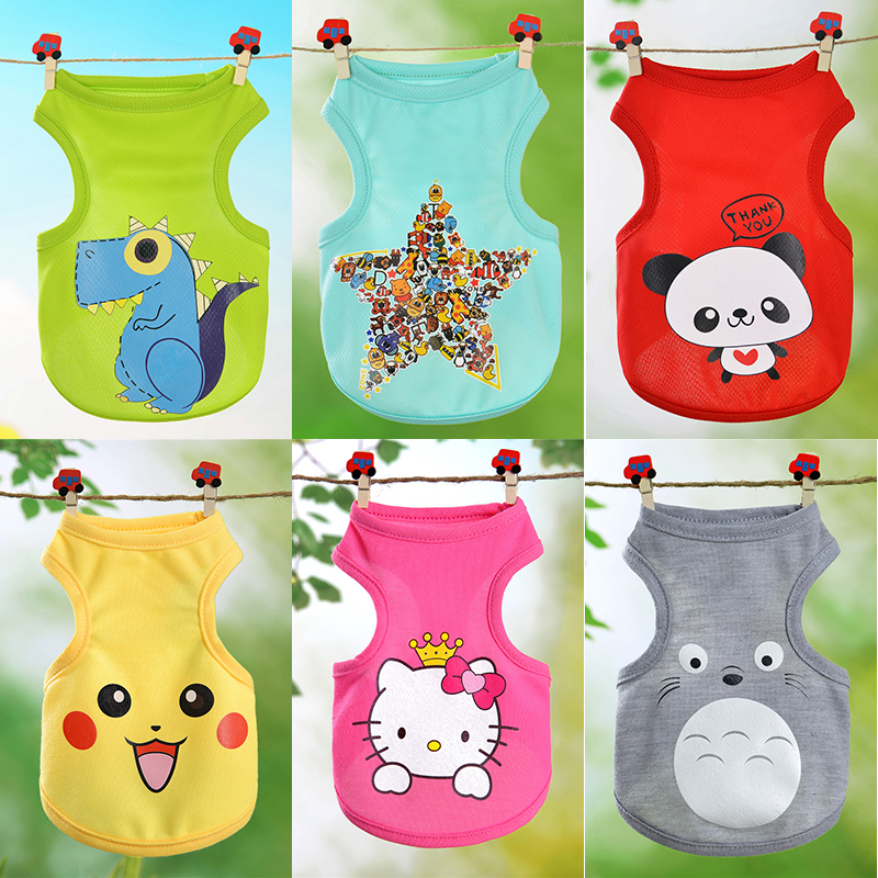 Sweet Cartoon Pet Cat Kitten Clothes Spring T-shirt Soft Dogs Clothes Pet Clothing Summer Shirt Casual Vests For Small Pets