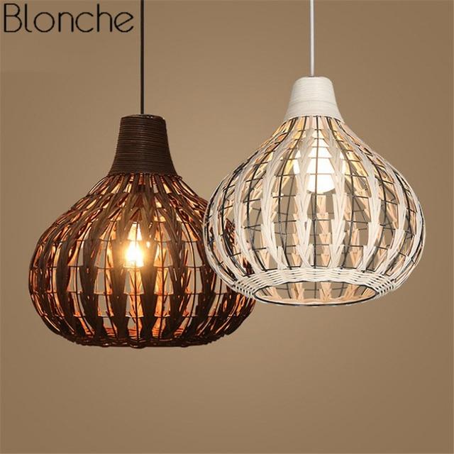 Southeast Asia Bamboo Rattan Pendant Lights Wicker Led Hanging Lamp For Restaurant Kitchen Indoor Light Fixtures
