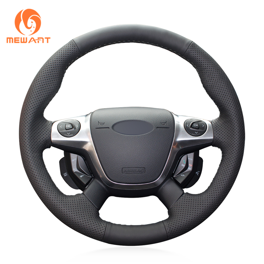 MEWANT Black Artificial Leather Car Steering Wheel Cover for Ford Focus 3 2012-2014 KUGA Escape 2013-2016 C-MAX 2011-2014 велосипед focus black forest 29r 4 0 2014