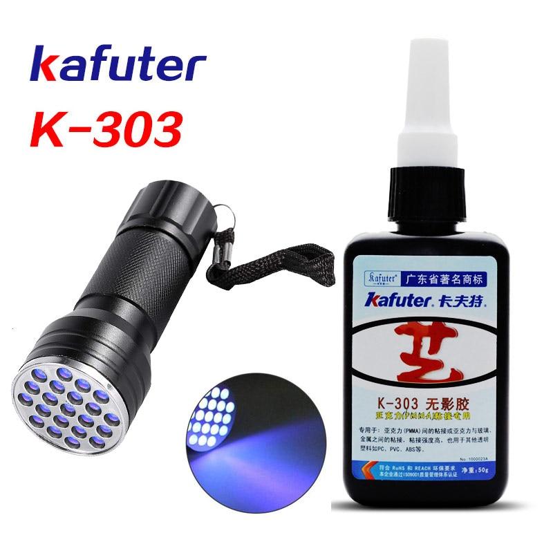 Ev Dekorasyonu'ten Silikon Dolgu'de Yeni güçlü 50ml Kafuter UV tutkal UV kür yapıştırıcı K 303 + 21LED UV el feneri UV kür yapıştırıcı kristal cam ve Metal yapıştırma