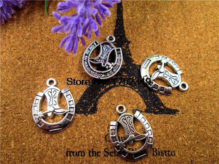 45pcs--Cowboy Charms, Antique Tibetan Silver Cowboy Boot and Horseshoe charm pendants 19x24mm