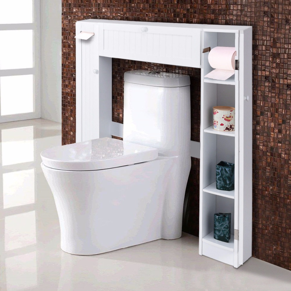 giantex wooden white shelf over the toilet storage cabinet drop door spacesaver modern bathroom. Black Bedroom Furniture Sets. Home Design Ideas