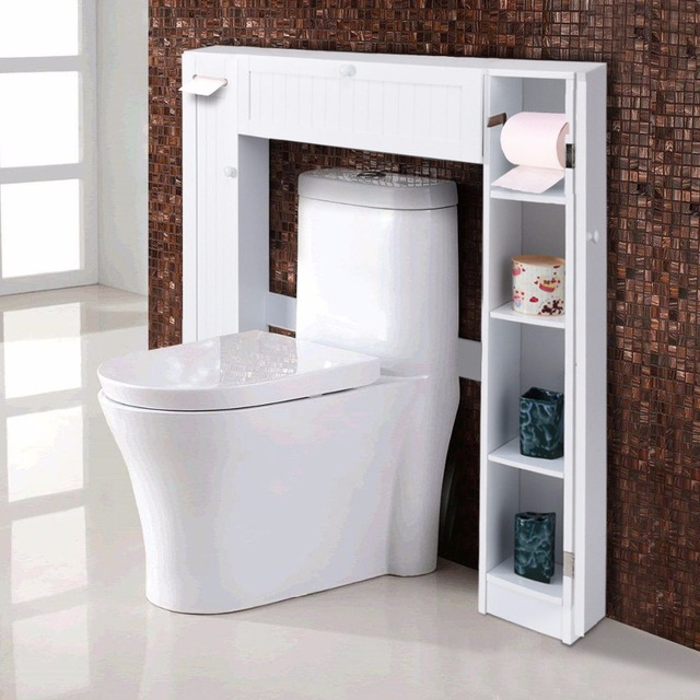 Giantex Wooden White Shelf Over The Toilet Storage Cabinet Drop Door ...