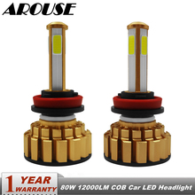 AROUSE H11 H8 H9 H1 H7 HB3 9005 9006 COB LED Headlight Bulbs H4 Hi-Lo Beam 80W 12000lm 6000K Car Auto Headlamp Fog Light 12v 24v цены онлайн