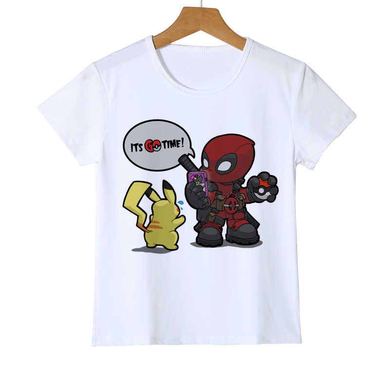 Summer Kid's Deadpool Pokemon T shirt Fashion Printed Boy Girl Pikachu T-Shirts funny Design dead pool t shirt tops tee Y11-4